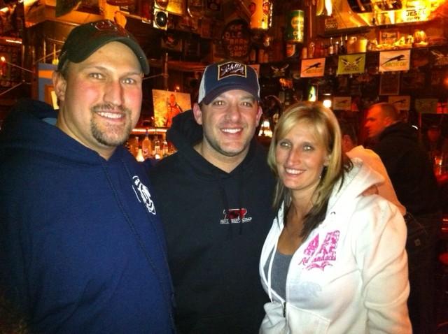 Shawn Hansen, Tony Stewart nad Heather Levi, from left, at the Ole Barn on Thursday.
