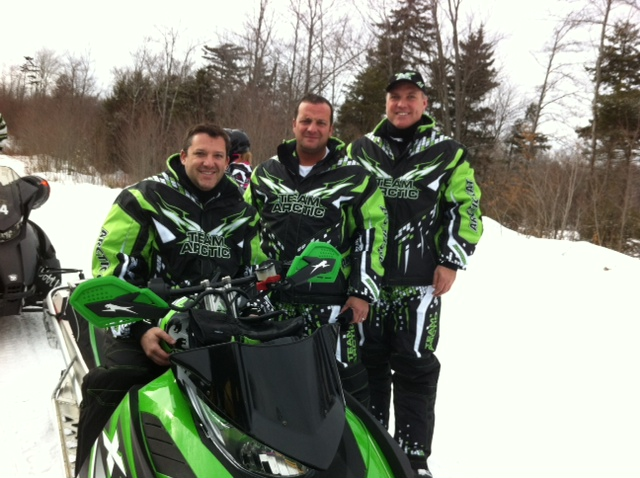 On Thursday, Tony Stewart, Greg Zipadelli and Matt Yocum took a trial run on area snowmobile trails to warm up for this weekend's Crusade for Kids, an annual charity event hosted by Zipadelli at Inlet's Ole Barn restaurant. Curtesy photo