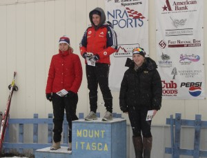 Maddie Phaneuf, right, at the award podium