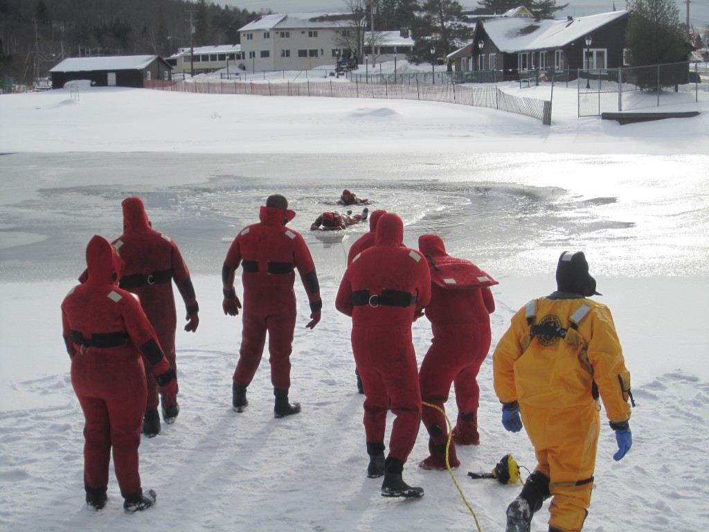Rescue drills on the frozen Old Forge Pond. Photo by Wende Carr