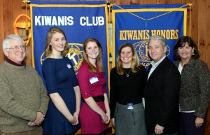 From left, Student of the Month Chairman Ray Schoeberlein, Students of the Month Ali McCumber and Danielle Gibbs and Danielle's parents Linda and Jeff Givvs and Town of Webb School Counselor Kandis Griffin. Courtesy photo.