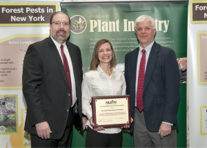 From left: Graham Cox, PhD., chair, Council of Forest Resource Organizations; Hilary Smith, APIPP director and NYS Department of Environmental Conservation Commissioner Joe Martens.