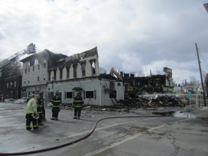 The March 28th building fire on Main Street in Boonville. Photos by Wende Carr