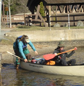 Emma and Emily shove off near the Old Forge covered Bridge. Wende Carr Photos