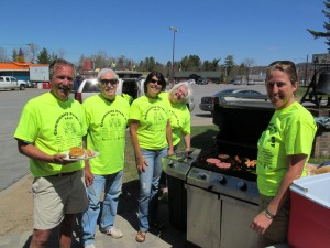 Among those handling food service in Old Forge on behalf of the Central Adirondack Association were, from left, Nick Bankert (from left), Chip Kiefer, Laurie Barkauskas, Martha Denio, and Felicity Davey. Photo by Laurie Barkauskas