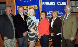 From left are Winter Sports Challenge Co-Chairman Bob Teesdale, Kiwanis VP Mike Griffin, No. 1 Individual under 18, Madeline Mahoney, No. 2 Team Kinderwood represented by Diane Heroux and Barbara Uzdavinis, and Kiwanis Past President and Winter Sports Challenge Co-Chairman Bill Ransom. Courtesy photo
