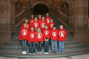 Inlet Common School fifth and sixth graders: Bottom left to right: Natalie Brownsell, Johanna Lutz, Britney Levi, Rianna Lindsay, Cullen Rose, and Joseph Townsend. Middle: Jamie Gaffney, Alex Sutherland, Melissa Hoffman, and Sean Manzi. Back: Deb Daiker, Ann Powley and Matt Newman. Courtesy photo.