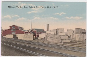 A vintage postcard representation of the Mill and Yard of Geo. Deis & Son, Fulton Chain, N.Y.