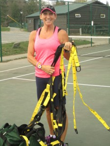 Joanne Maly with TRX gear. Photo by Wende Carr