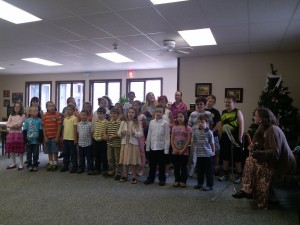 Inlet Common School Grades K - 6 singing to the seniors in the Respite Center in the Inlet Town Hall. Courtesy photo