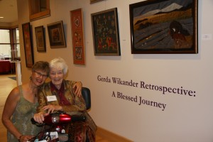 Artist Greda Wikander (right), 99 years old, has been represented in the Central Adirondack Art Show for 62 years. The show is hostd locally by View. A retrospective of her work is being featured to coincide with this year's exhibit. Pictured with Gerda is her daughter Kristine.