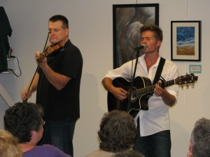 Joe Davoli and Nick Piccininni performing at Old Forge Library. Photo by Dawn Montanye