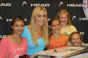Polar Bear Skiers, From left, Alexis Hollister, Laura Levi, Alex Sutherland and Karleigh Hollister with LindseyVonn