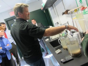 Inlet Wastewater manager Don Haehl describes the treatment process in the plant laboratory