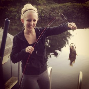 Rachel Bills with the fish she caught on her Caroga Lake camping trip. Her friend Will came up empty on the trip. Rachel credits the good teacher she had a few years back.