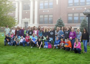 Town of Webb student participants at the Pinwheels for Peace installation held Friday morning, September 20th.