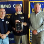 Outgoing President Jim Connerty(from left), Kiwanian of The Year Mike Griffin and Membership Co-Chair Bob Teasedale