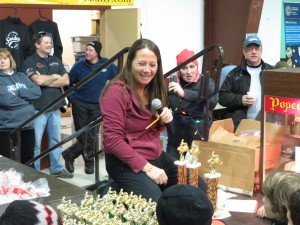 Andrea Ross awarding trophies to Youth Race winners
