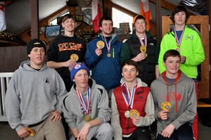 Section III Boys Champs... Front row: Corey Down, Cy Barkauskas, Carter Lawrence, John Gaffney. Back row: Adam Levi, Conner Glasser, Griffin Kleps, Hunter Lawrence. Photos by Julie Liddle
