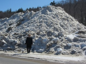 Marianne Christy stands next to one of the many snow piles around the town of Old Forge, offering scale to its height. Photo by Gina Greco