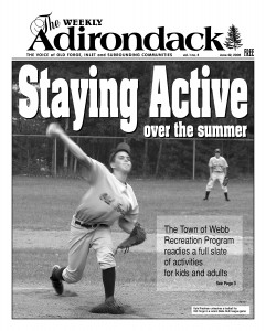 A cover photo of Kyle Riedman pitching for Old Forge appeared in May 22, 2005 edition of The Weekly Adirondack.