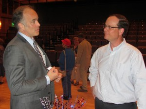 Aaron Woolf, Democrat Candidate for the 21st District, and Webb Supervisor, Ted Riehle.