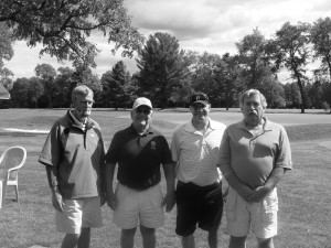 Dave Peck, Covey-Pashley Post 893 Commander Bill Ransom, Army SFC Roy Mitchell, Past Commander Brad Birnie at the American Legion-Wounded Warriors Golf Tournament at Thendara Golf Club, Saturday, 21st. Courtesy photo