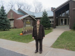 Councilwoman Mary Brophy Moore represents the Town of Webb Board as it seeks to start a Senior Recreation program. She is shown at Niccolls Memorial Presbyterian Church in Old Forge, which will serve as the venue. Photo by Gina Greco