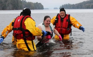 Kathryn Forsell of Raquette Lake emerges from her Polar Plunge. Photo by Michelle Bartlett