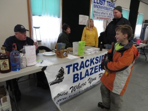 The Trackside Blazers booth at the Snowmobile Shootout in Woodgate.