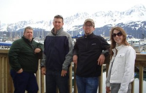 John Russell with children Ben, Jonathan and Elizabeth  during a trip to Alaska. Wife Nanci took the picture.