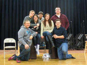 S. Hansen, T. Fenton, A. Cooper, N. Olsen, M. Murphy, T. Hulser and C. Kelly at a recent rehearsal for 'How to Succeed in Business Without Really Trying.' Photo by Gina Greco
