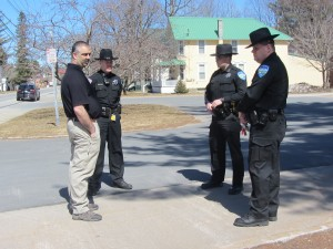 Town of Webb School Student Resource officer, Andrew Kalil (from left) with Town of Webb police officers, Kevin Birtle and A.J. Silverman and Town of Webb Police Chief Ron Johnston. Photo by Gina Greco
