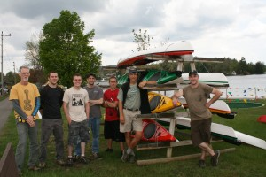 John Nemjo, right, ofMountainman Outdoors Supply Company and Paddlefest founder with staff at a previous year's event.