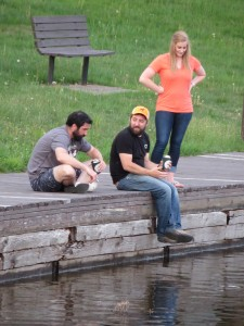 The water of the Old Forge Pond was on the low side this week for Justin Staskiewicz (center), Rich Mathy and Becky Hoffman of Old Forge.