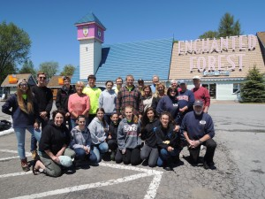 Central Adirondack Kiwanis and Town of Webb School Key Club members take a break from washing 111 cars. Courtesy photo