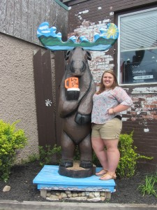 Hailey Paddock with ??? the Just Plain Good Moose. Photo by Gina Greco