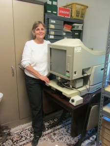 Kate Lewis with the Historical Association's new microfiche reader. Photo by Gina Greco