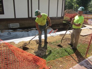 Gary Edgin and Bob Johnson of Gaetano Construction working on the expansion at the OldForge Library. Photo by Gina Greco