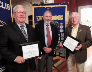 President Mike Griffin, center, with Key Kiwanians Bill Ransom (left), and Ray Schoeberlein.
