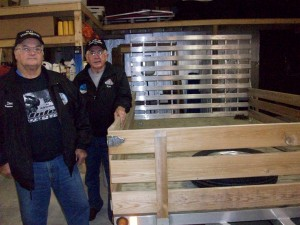 Inlet Barnstormers Treasurer Don Bartel, left, and President Ron Nihil with the new trailer. Courtesy photo