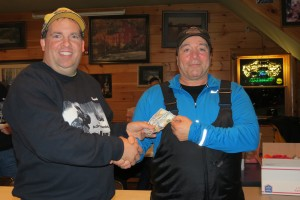 1st prize winner, $300, James Bagetta, Boston Lake, NY, with dealer Chuck Trimbach