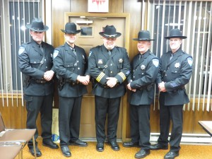 Town of Webb Police Officers: Cody Luebbert, Anthony Capristo, Chief Ron Johnston, Trevor Tormey & Kevin Birtle. Photo by Jay Lawson