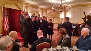 Herkimer County Sheriff Chris Farber is shown being sworn in as President of the New York State Sheriff's Association at a ceremony held in Albany last January. The ceremony was held during the Sheriffs' Association's 82nd Annual Winter Training Conference at the Desmond Hotel. As President, Sheriff Farber works with sheriffs around the state to further the efforts of the Sheriffs' Association to enhance public safety in New York State through professional training and accreditation programs, public safety programs, and advocacy. The association was formed in 1934 to assist sheriffs in the efficient and effective delivery of services to the public. It comprises all elected and appointed sheriffs on New York State. Courtesy photo