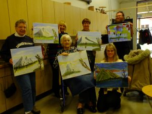 Ruth Brussel, Carolyn Trimbach, Nancy Gibson, Hazel Dellavia, Jeremy Dreja and Linda Heistman display their artwork.